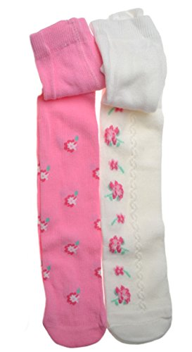 2-Pairs-of-Pink-Cream-Floral-Baby-TIGHTS-Size-12-18-months