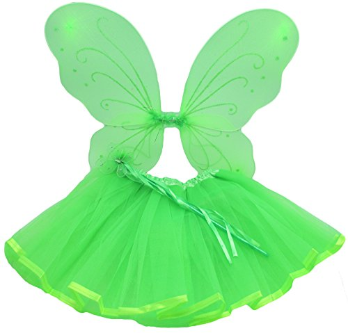 Lime Green Princess Costume Set with Wings, Ribbon Lined Tutu, and Butterfly Wand