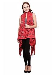 Famous By Payal Kapoor Women's Jacket (PKJ21_Red_Medium)