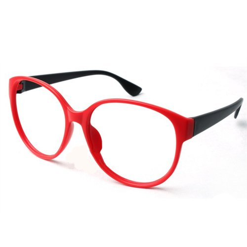 FancyG® Retro Fashion Style Oval Red Costume Cosplay Glass Frame NO LENSES