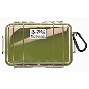 Pelican 1050 Micro Watertight Crushproof Dry Box, 7.50x5.06x3.12in - Clear w/Green 1050-02G-100