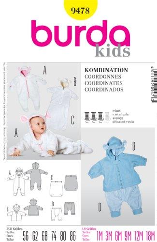 Burda 9478 Baby Coordinates Romper + (Size 1M, 3M, 6M, 9M, 12M, 18M) Sewing Pattern front-475893
