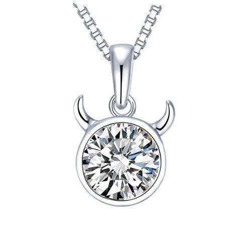 NEVI Bull Taurus Astrology Star Sign Fashion Swarovski Zirconia 92.5 Sterling Silver Rhodium Plated Choker Pendant Chain Jewellery for Women & Girls (Silver) at amazon