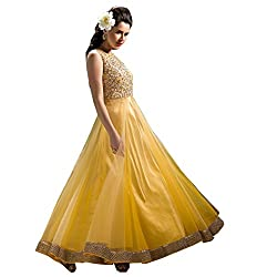 Gopi Fashion Women's Net Unstitched Salwar Suit(Yellow)
