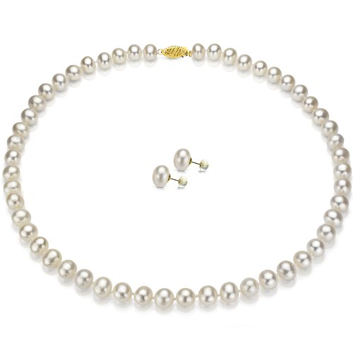 14k Yellow Gold 8-9mm White Hand-picked Genuine Cultured Freshwater Pearl Necklace 18