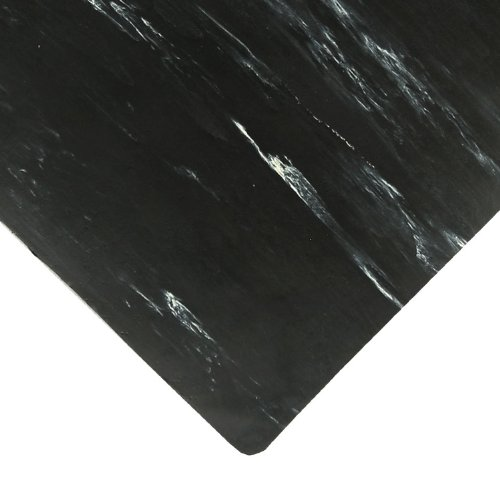 """NoTrax Rubber 970 Marble Sof-Tyle Grande Anti-Fatigue Mat, for Dry Areas, 3' Width x 5' Length x 1"""" Thickness, Black"""
