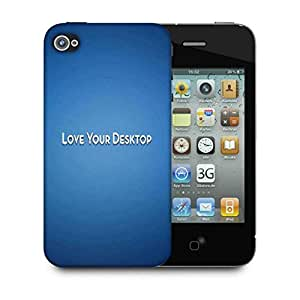Snoogg Love Your Desktop Blue Designer Protective Phone Back Case Cover For Apple Iphone 4