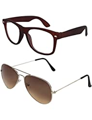 Sheomy Unisex Combo Pack Of Transparent Brown Wayfarer Sunglasses And Silver Brown Aviator Sunglasses For Men...