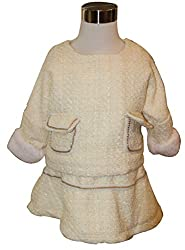 Habooz Kids winter woolen cream colour 2 pieces dress