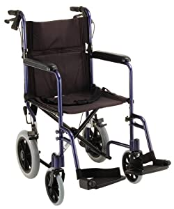NOVA 330 Lightweight Transport Chair with Hand Brakes and 12