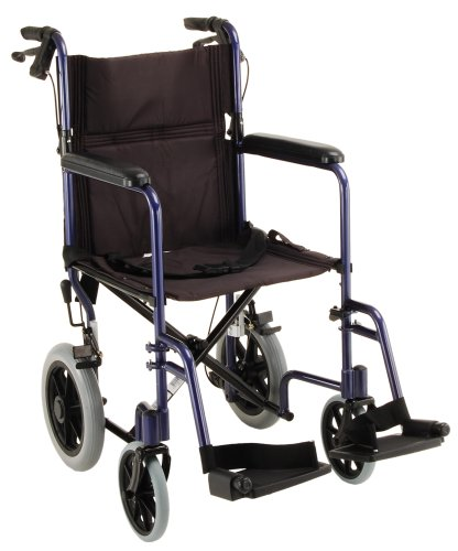"""NOVA 330 Lightweight Transport Chair with Hand Brakes and 12"""" Rear Wheels, 19"""", Blue"""