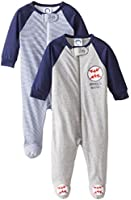Gerber Baby-Boys Newborn 2 Pack Zip Front Sleep N' Play - Baseball