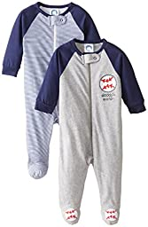 Gerber Baby Boys\' 2 Pack Zip Front Sleep \'N Play, Baseball Blue, 0-3 Months