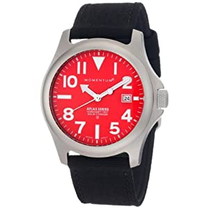 Momentum Mens 1m-sp00r6b Atlas Red Dial Black Cordura Watch