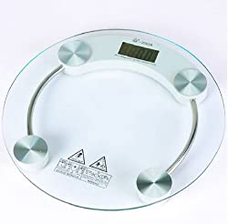 Venus Thick Tempered Glass Body Round Digital Weighing Scale (Transparent)