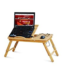 Premium Quality Multifunctional Portable Foldable Wooden Laptop Table Desk with 2 USB Charging Cooling Fans & Tea/Coffee Cup Stand