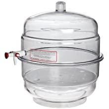 Bel-Art Scienceware® 420270000 Polycarbonate Bottom Space Saver(TM) Vacuum Desiccator, 24cm ID, 27.3cm Flange OD, 31.1cm Height, 23cm Plate Size
