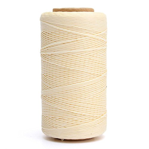 KINGSO 284 Yards Leather Sewing Waxed Thread DIY Craft Beige (Waxed Nylon Thread compare prices)