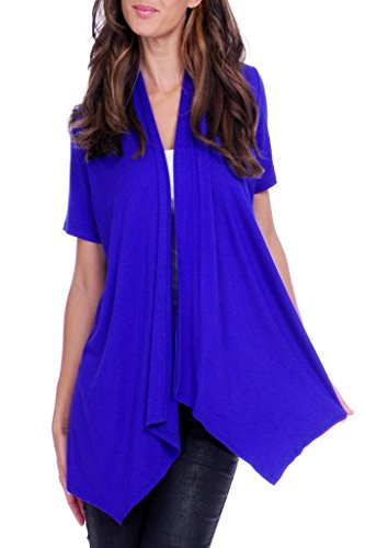 4GOG Apparel Women's S-3X Size Solid Short Sleeve Cardigan Royal Blue Large