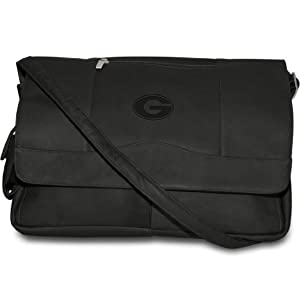 NCAA Black Leather Laptop Messenger Bag by Pangea Brands