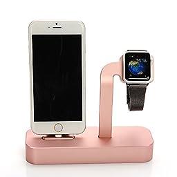 Apple Watch 2 Stand, iPhone 7/ 7 Plus/6s/ 6s Plus Dock,,UniqueKay [2 in 1 Charging Dock] Premium Aluminum Charging Dock Station Stand Holder For for Apple Watch 38mm/ 42mm, iPhone 5/SE (Rose Gold)