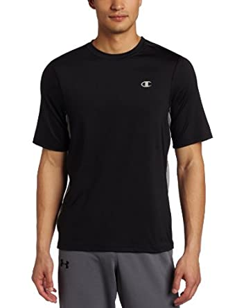 Champion Men's Double Dry Performance Tee, Black/Dark Gray Heather, Small