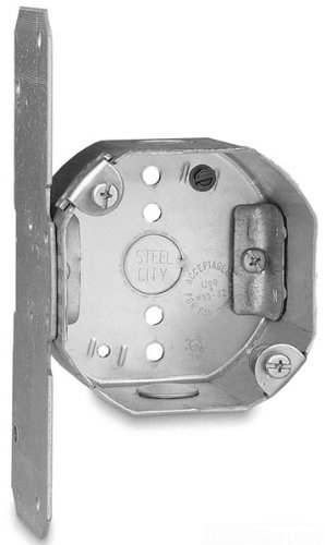 Steel City 54171-Fcfb Pre-Galvanized Steel Octagon Ceiling Fan Support Box With C-5 Non-Metallic Cable Clamps, F-Bracket And 1/2-Inch Knockouts