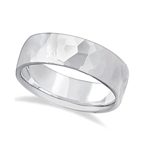 ... for Men's Hammered Finished Carved Band Wedding Ring Palladium (7mm