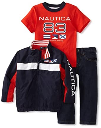 Nautica Sportswear Kids Little Boys' Three Piece Set, Bright Orange, 3T