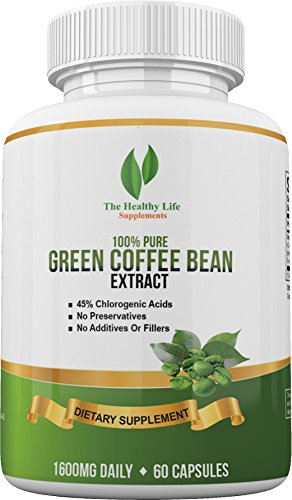 100% Pure Green Coffee Bean Extract supplement with powerful CGA antioxidant- Highest Potency 1600 MG Daily - Powerful weight loss fat burner formula for Men and Women (Coffee Bean Extract Highest Grade compare prices)