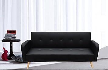 Canapé lit cuir synthétique noir 3places inclinable pieds bois