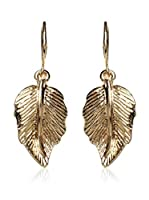 Amrita Singh Pendientes Curved Leaf Drop Metallic