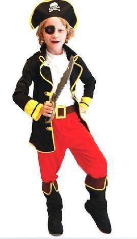 海賊王 ! 海賊 コスチューム フェイスペイント 6色 付き AmanoSongオリジナル7点セット (A172) Halloween ハロウィン クリスマス 海賊 衣装 コスプレ 仮装 キャプテン パイレーツ 子供 キッズ (XL 130~140cm)
