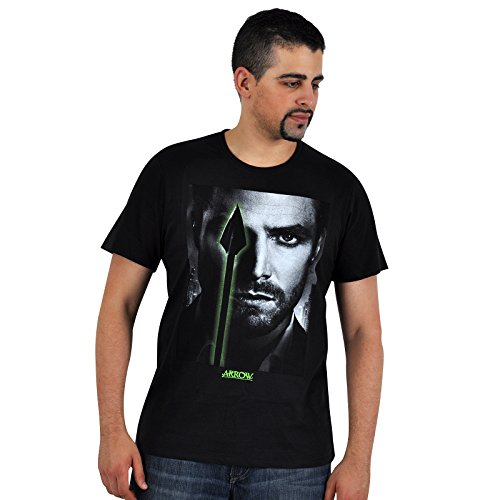 Arrow - Eyes T-Shirt - Maglietta tratta dalla serie TV con primo piano di Oliver Queen - Girocollo nero - L