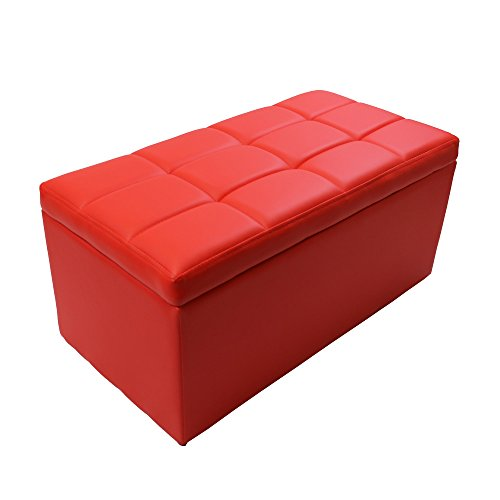 Magshion* Rectangle Living Unfold Storage Ottoman Bench Footstools Seat End Coffee Table (Red) (Coffee Table Red And Black compare prices)