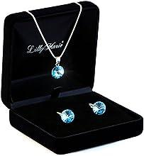 Joyas de plata con cristales Swarovski original, azules, 12 mm, con joyas diseño, ideal como regalo para mujer o novia