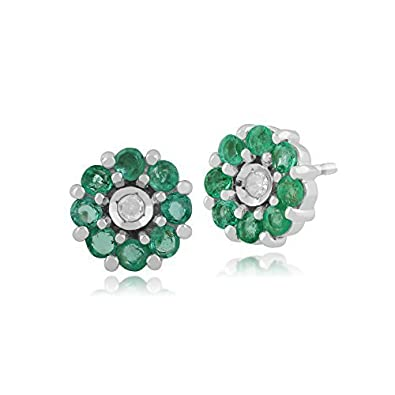 Gemondo Emerald Earrings, 9ct White Gold 0.49ct Emerald & Diamond Floral Stud Earrings