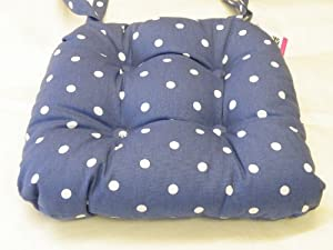 Spotted Chunky Padded Seat Cushion Denim Blue in Cath ...