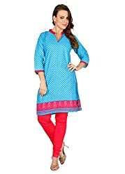 Awesome Fab Blue Color Cotton Fabric Women's Straight Kurti