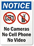 """SmartSign Plastic Sign, Legend """"Notice: No Cameras No Cell Phone No Video"""" with Graphic, 14"""" high x 10"""" wide, Black/Blue/Red on White"""