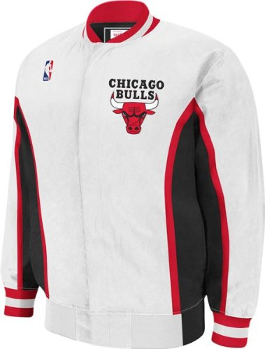 NBA Mitchell & Ness Chicago Bulls Vintage Warm-Up Jacket - White (Large) at Amazon.com
