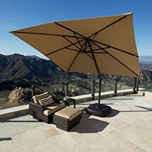 Portofino Signature Resort Umbrella 10' X 10' Sunbrella® Fabric Canopy and Swivel Base. Cover Included