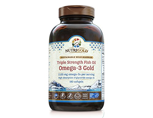Nutrigold Triple Strength Omega-3 Gold Fish Oil Supplement, 1250 mg, 180 Softgels (Triple Strength Fish Oil 1500 compare prices)