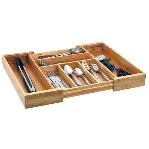 Expandable bamboo cutlery tray drawer organizer for Silverware storage no drawers