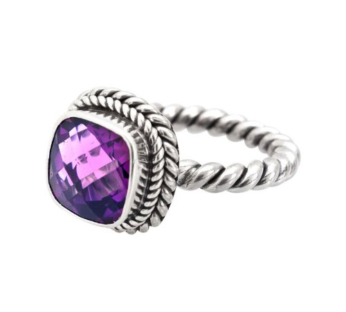 Bali Sterling Silver Ring with Amethyst Size 6
