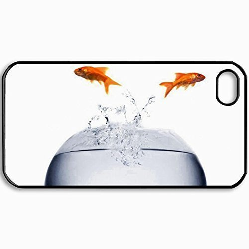 Personalized Protective Hardshell Back Hardcover For iPhone 4/4S, Goldfish Design In Black Case Color