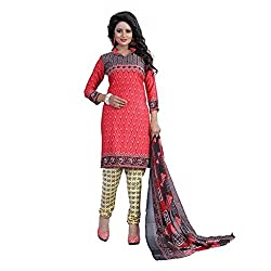 Shree Hari Creation Women's Poly Cotton Unstitched Dress Material (244_Red_Free Size)
