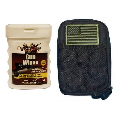 Ultimate Arms Gear Wipe Cleaning Field Combo: Stealth Black Molle Utility Wallet Carry Holder Case + USA Flag Velcro Patch + Pro Armorer's Gun Wipes Cloth Patches Cleaner Lubricanting Oil Protector Travel Convinient Pop-Up Portable Dispenser Range Cleans Dirt, Displaces Moisture Prevents Rust & Corrosion for Shotguns Pistols Firearms Rifles Auto Weapons (50-Sheets)