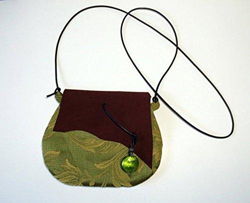 Pochette in tessuto di cotone damascato e pelle scamosciata con ciondolo verde, limited edition BBagdesign.