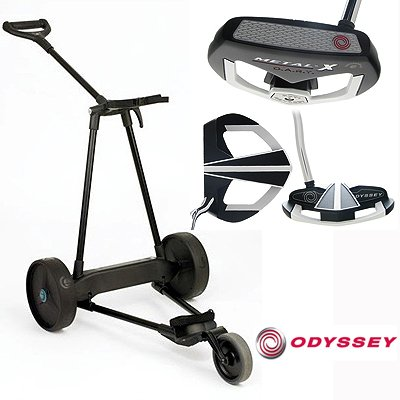 New! Emotion E3 23Lbs Pull Push Electric Motorized 3-Wheel Golf Cart Trolley + New! Odyssey Metal-X Dart Putter